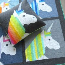 Holm Sown Online Fabric Shop - Elizabeth Hartman Lisa The Unicorn Quilt and Pillow Pattern - pillow and quilt samples