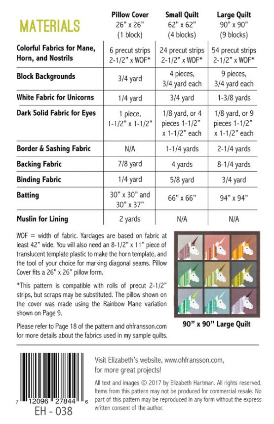 Holm Sown Online Fabric Shop - Elizabeth Hartman Lisa The Unicorn Quilt and Pillow Pattern - fabric requirements
