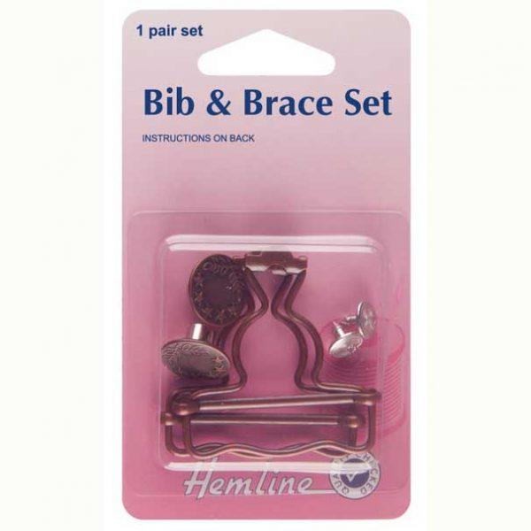Holm Sown Online Fabric Shop - Hemline Bib & Brace Set Dungaree Fittings - 40mm Bronze