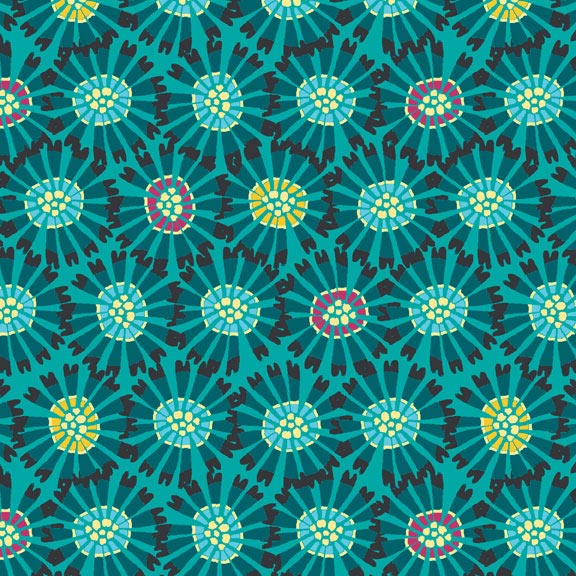Holm Sown Online Fabric Shop - Cotton Fabric - Sundance Abstract Flowers Blue by Beth Studley for Makower UK