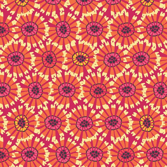 Holm Sown Online Fabric Shop - Cotton Fabric - Sundance Abstract Flowers Orange by Beth Studley for Makower UK