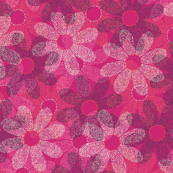 Holm Sown Online Fabric Shop - Cotton Fabric - Sundance Dotty Daisy Pink by Beth Studley for Makower UK