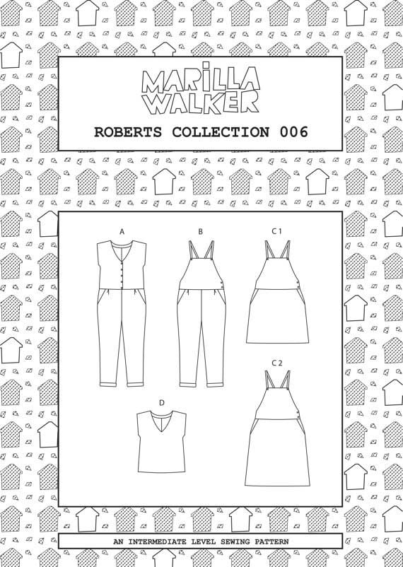 Marilla Walker Roberts Collection PDF Sewing Pattern - Dungaree Dress