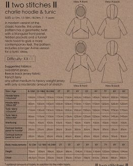 Holm Sown Online Fabric Shop - Two Stitches Charlie Hoodie & Tunic Sewing Pattern - envelope back