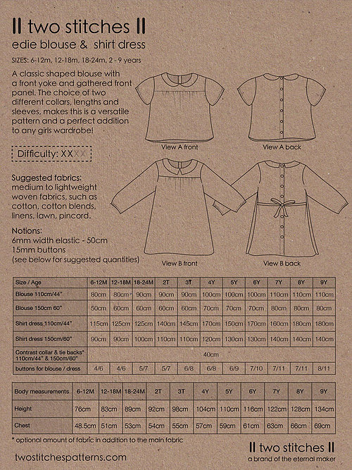 Holm Sown Online Fabric Shop - Two Stitches Edie Blouse & Shirt Dress Sewing Pattern - envelope back