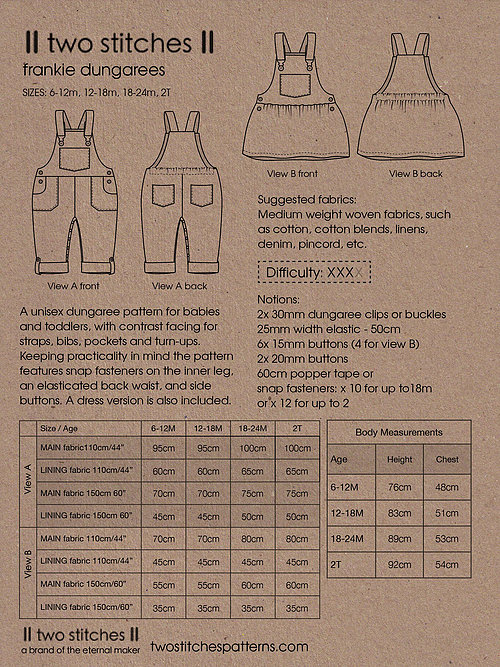 Holm Sown Online Fabric Shop - Two Stitches Frankie Dungarees Sewing Pattern - sizing and fabric requirements