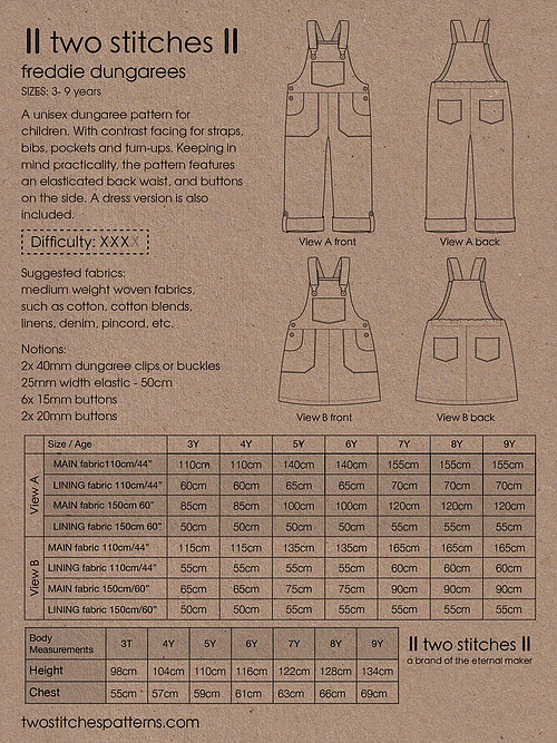 Holm Sown Online Fabric Shop - Two Stitches Freddie Dungarees Sewing Pattern - fabric requirements and sizing