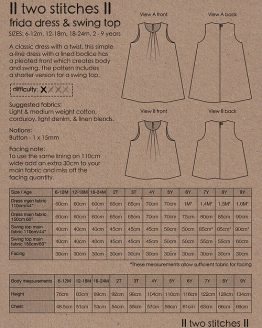 Holm Sown Online Fabric Shop - Two Stitches Frida Dress & Swing Top Sewing Pattern - envelope back
