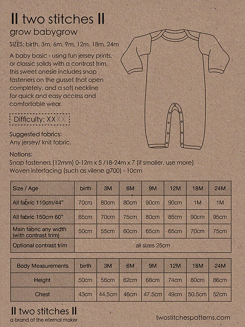 Holm Sown Online Fabric Shop - Two Stitches Grow Babygrow Sewing Pattern - envelope back