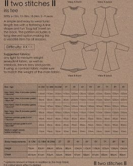 Holm Sown Online Fabric Shop - Two Stitches Iris Tee Sewing Pattern - envelope back