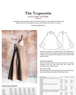 Holm Sown Online Fabric Shop | The Trapezette Dress by Merchant & Mills - pattern envelope back sizing and farbic requirements