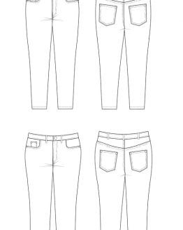 Cashmerette Ames Jeans // Curvy Sewing Patterns // line drawing // Holm Sown
