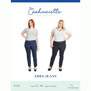 Cashmerette Ames Jeans // Curvy Sewing Patterns // pattern envelope front // Holm Sown