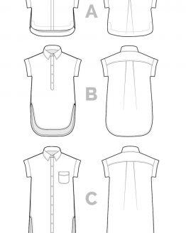 Closet Case Kalle Shirt & Shirtdress // pattern line drawing // Holm Sown
