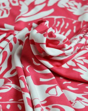 Holm Sown Online Fabric Shop - Adelaide Coral Floral Viscose Jersey dressmaking fabric