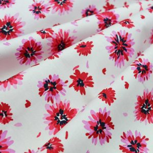 Holm Sown Online Fabric Shop - Loretta Pink Floral Cotton Poplin dressmaking fabric