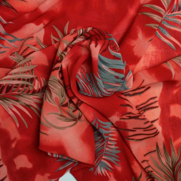 Holm Sown Online Fabric Shop - Samba Sunset Leaf Polyester Crepe dressmaking fabric