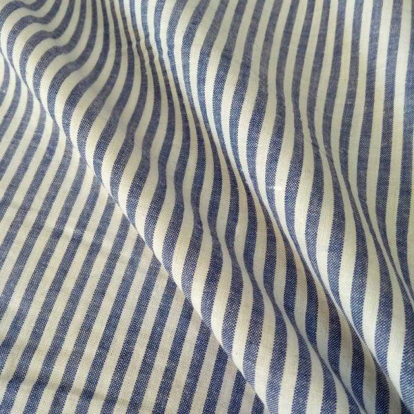 Holm Sown Online Fabric Shop - Cotton Shirting - Narrow Blue Stripe dressmaking fabric