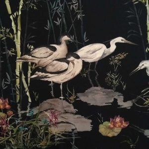 Holm Sown Online Fabric Shop - Lady McElroy Rushland Heron Polyester Crepe dressmaking fabric