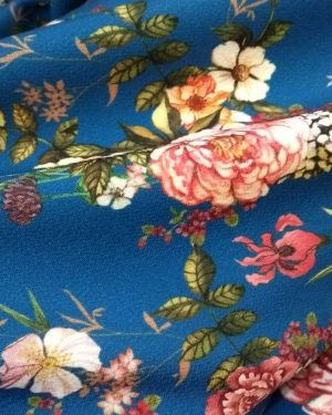 Holm Sown Online Fabric Shop - Lady McElroy Stretch Samba CrepeTwilight Meadow Blue dressmaking fabric