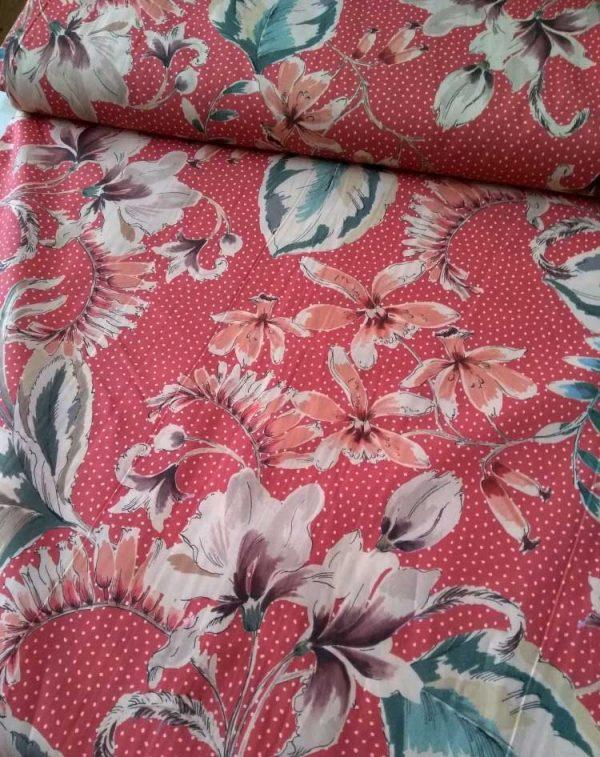 Holm Sown Online Fabric Shop - Lady McElroy Fabrics - Vingage Florals Cotton Lawn Pink