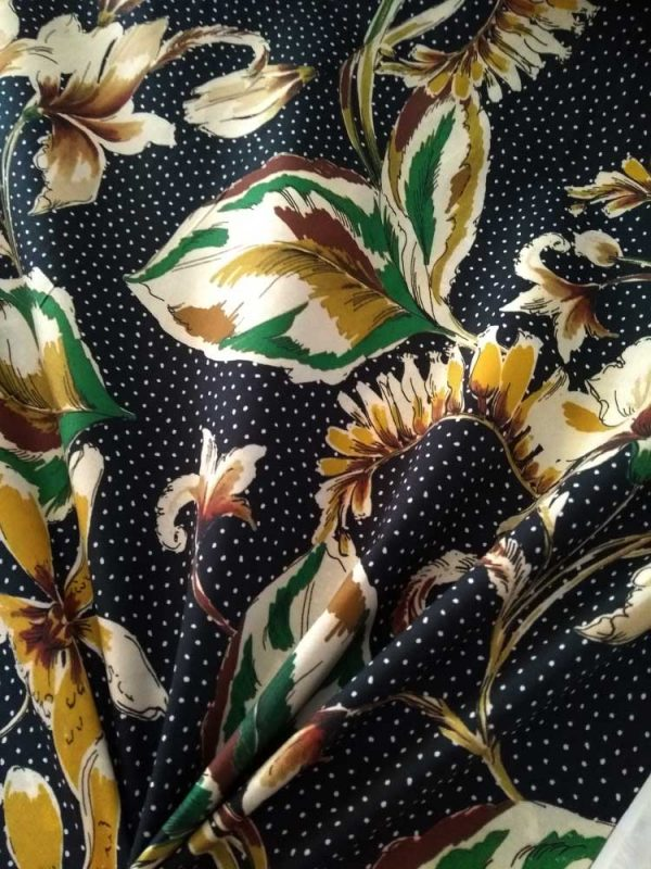 Holm Sown Online Fabric Shop - Lady McElroy Fabrics - Vingage Florals Cotton Lawn Old Gold