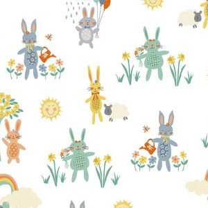 Holm Sown Online Fabric Shop - Makower Henley Studio Counting Sheep Bunnies White Quilting Cotton