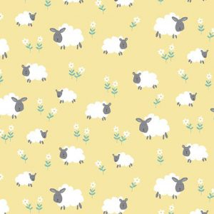 Holm Sown Online Fabric Shop - Makower Henley Studio Counting Sheep Sheep Meadow Yellow Quilting Cotton