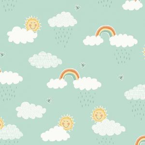 Holm Sown Online Fabric Shop - Makower Henley Studio Counting Sheep Clouds Teal Quilting Cotton