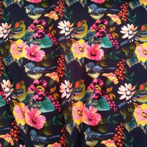 Holm Sown Online Fabric Shop - Cotton Spandex Jersey Paradise Birds - knit dressmaking fabric