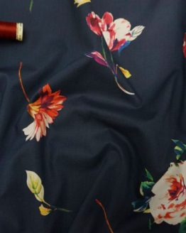 Holm Sown Online Fabric Shop Cotton Lawn - Floral Confetti Navy Lady McElroy Fabrics
