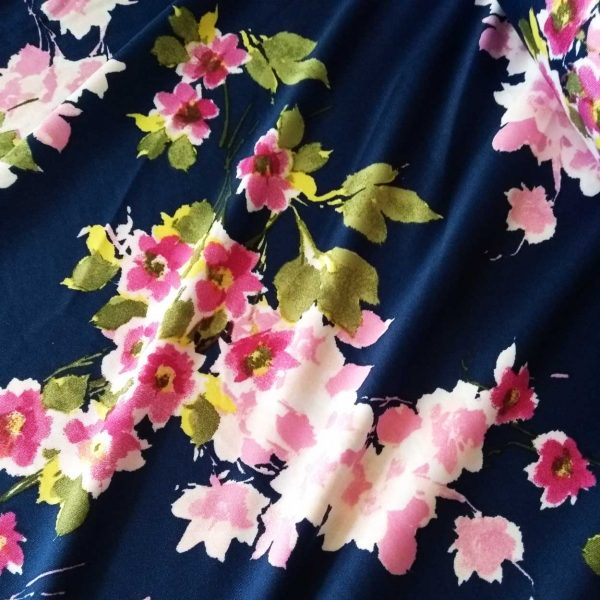 Holm Sown Online Fabric Shop - Lady McElroy Florence Bouquet Navy jersey dressmaking fabric