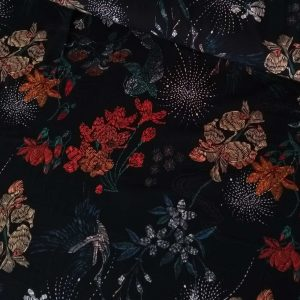 Holm Sown Online Fabric Shop - Lady McElroy Oriental Koi Black Polyester Crepe dressmaking fabric