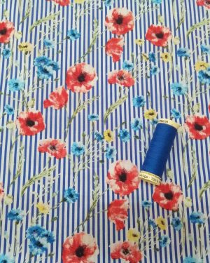 Holm Sown Online Fabric Shop - Stretch Cotton Poplin Wildflowers Stripe - dressmaking fabric