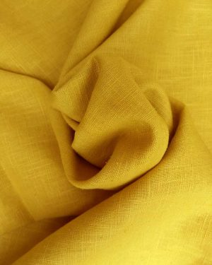 Holm Sown Online Fabric Shop - Enzyme Washed Linen Ochre Gold dressmaking fabric