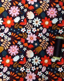 Holm Sown Online Fabric Shop - Dashwood Studio Corduroy - Purple Brown Flowers - CORD1349