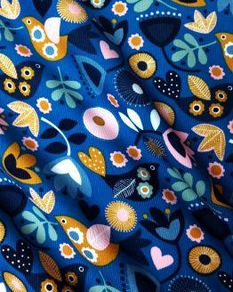 Holm Sown Online Fabric Shop - Dashwood Studio Corduroy - Teal Flowers - CORD1348