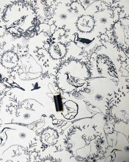 Holm Sown Online Fabric Shop - Cotton Poplin Woodland Animals - Foxes, Pheasants, Owls, Birds
