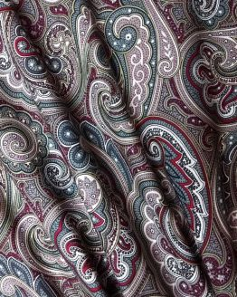 Pima Cotton Lawn - Burgundy Paisley - dressmaking fabric