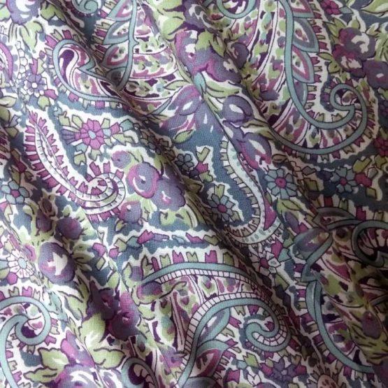 Pima Cotton Lawn - Purple and Green Paisley - dressmaking fabric