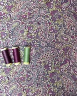 Pima Cotton Lawn - Purple and Green Paisley - dressmaking fabric