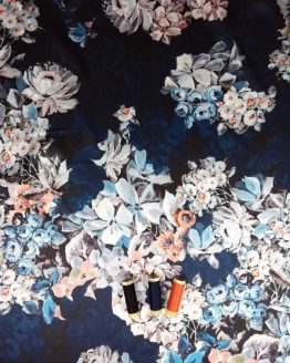 Holm Sown Online Fabric Shop - Polyester Satin Print Navy Floral Dressmaking Fabric