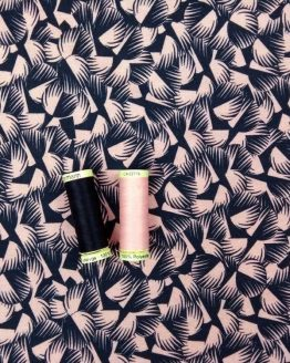 Holm Sown Online Fabric Shop - Viscose Jersey Abstract Pink & Blue - dressmaking fabric
