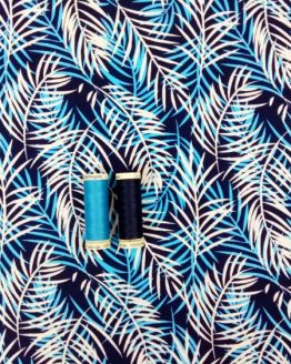 Holm Sown Online Fabric Shop - Viscose Jersey Blue Palms - dressmaking fabric