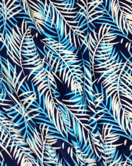 Holm Sown Online Fabric Shop - Viscose Jersey Blue Palms - dressmaking fabric