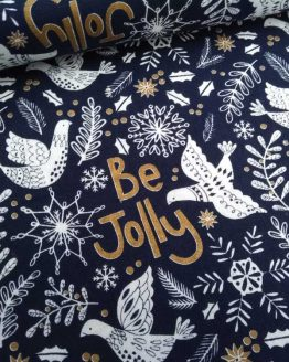 Holm Sown Online Fabric Shop | Be Jolly Navy Metallic Christmas Fabric - quilting cotton - Holm Sown
