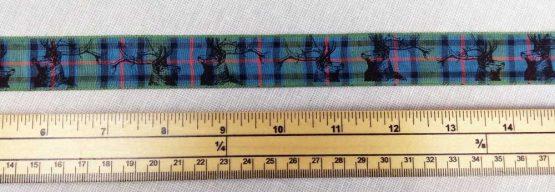 Holm Sown Online Fabric & Haberdashery Shop - Berisfords Ribbon - Flower of Scotland Tartan Stag - 25mm wide ribbon