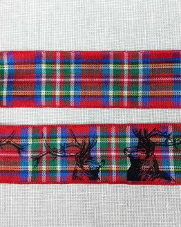 Holm Sown Online Fabric & Haberdashery Shop - Berisfords Ribbon - Royal Stewart Tartan Stag - 25mm wide ribbon