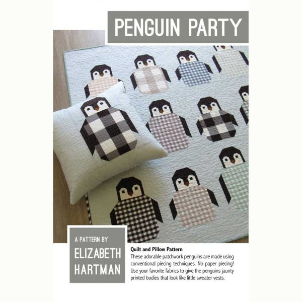 Holm Sown Online Fabric Shop - Elizabeth Hartman Penguin Party Quilt and Pillow Pattern - pattern envelope