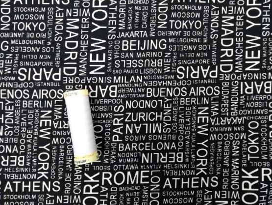 Holm Sown Online Fabric Shop - Sevenberry Japanese Cotton - In The Press Cities Black 83020D2-5